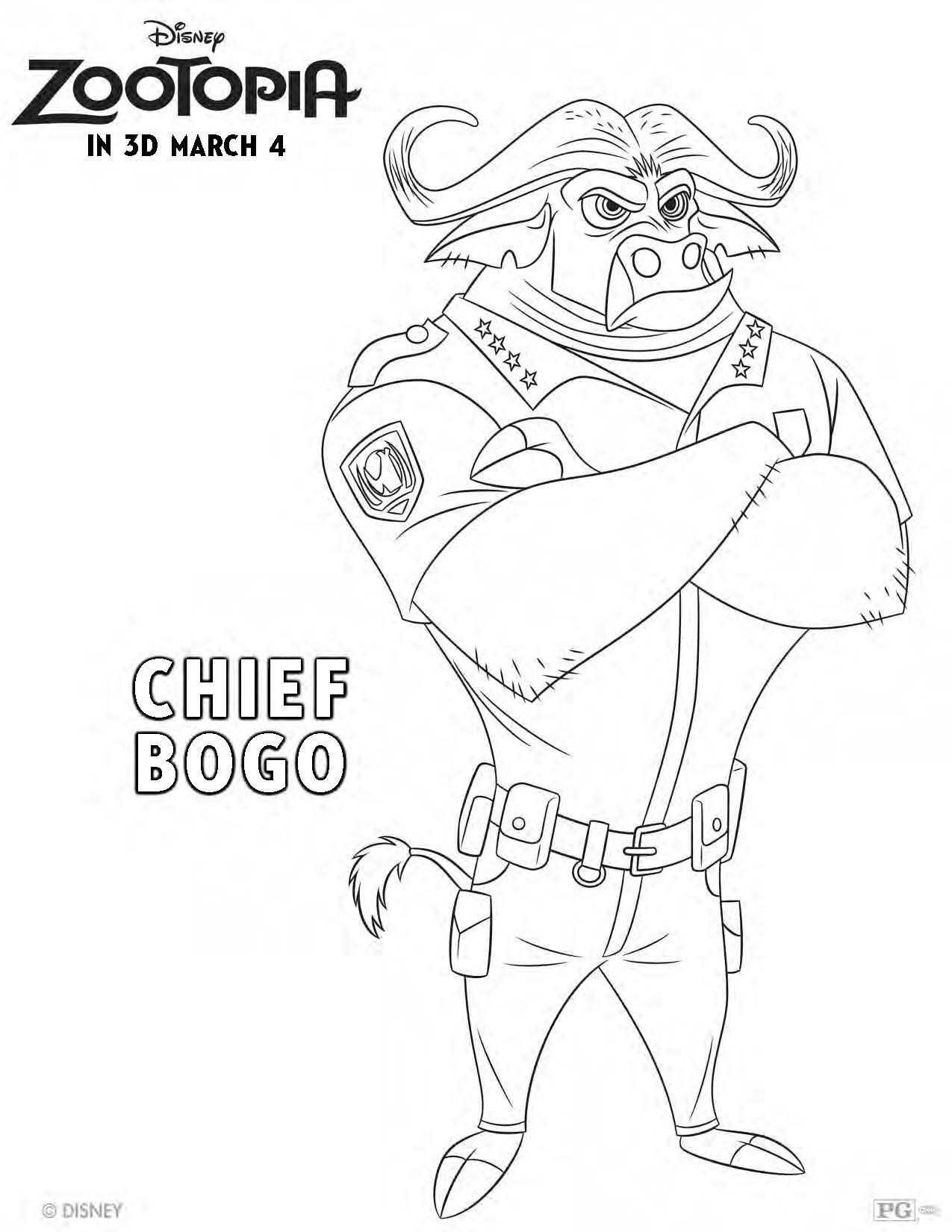 Get Your Zoo On With This Chief Bogo Coloring Page Zootopia