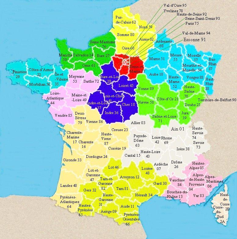 France Départements métropole, avec les 12 régions 2016