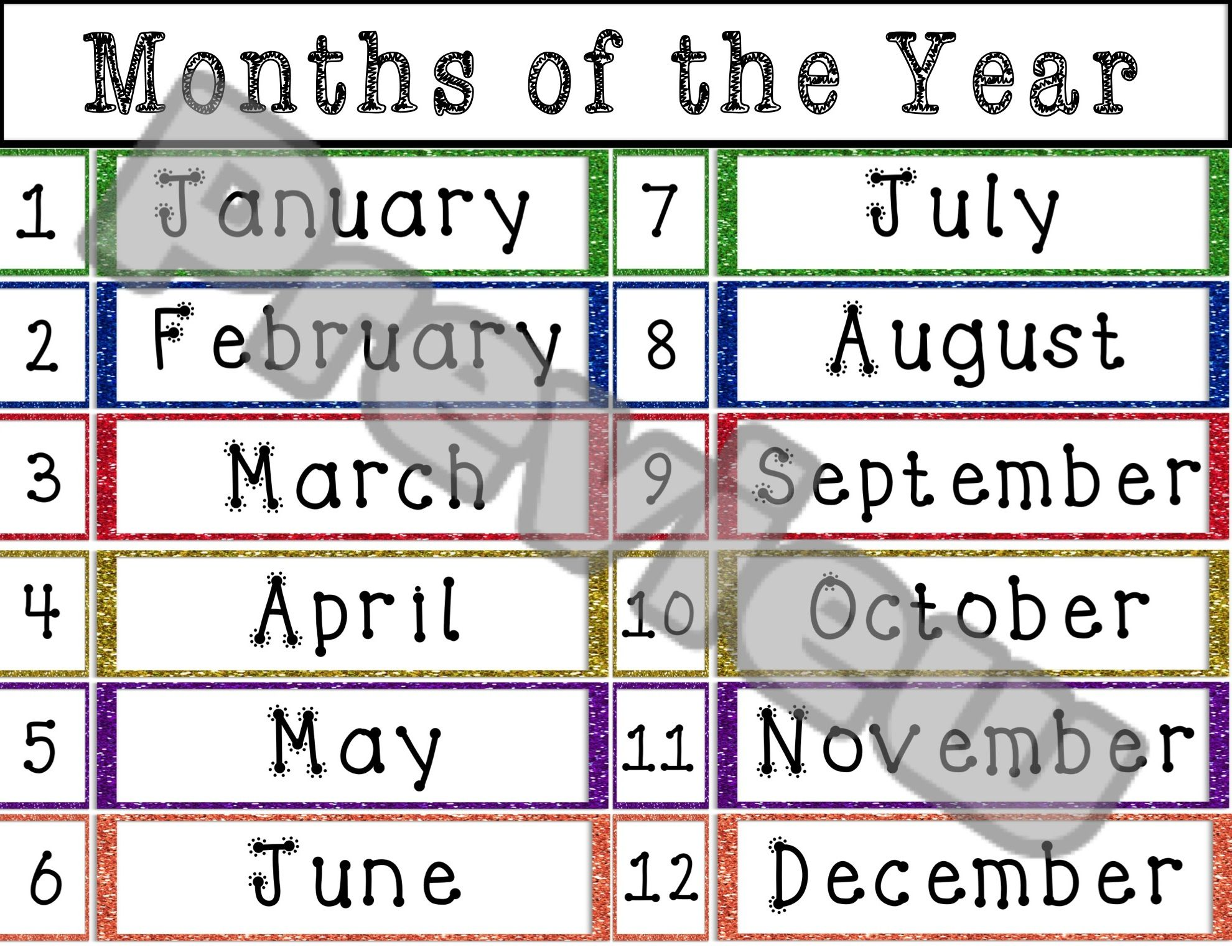Glitter Themed Classroom Months Of The Year Vocabulary Cards Matching Games Student Reference