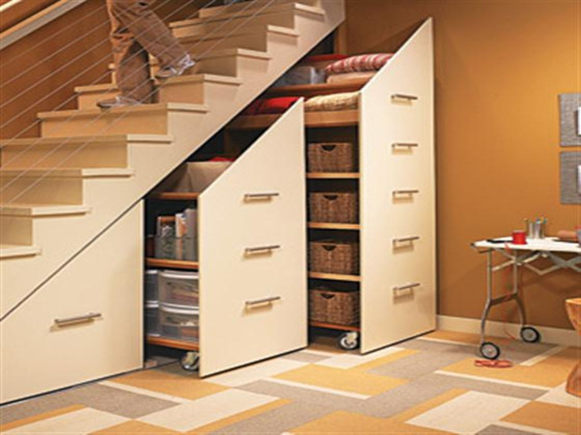 Adorable Space Saving Bedroom Under Stair Storage With