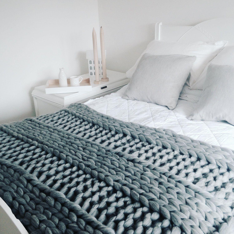 """Blanket KNITTING KIT. 40"""" x 60"""" Giant 40mm Knitting"""