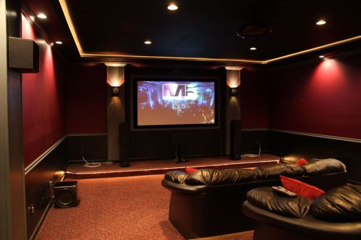 Awesome Home Theater Decorating Ideas With Cute Model Idea Luxury Interior Design Red Wall Black Sofa Sound System