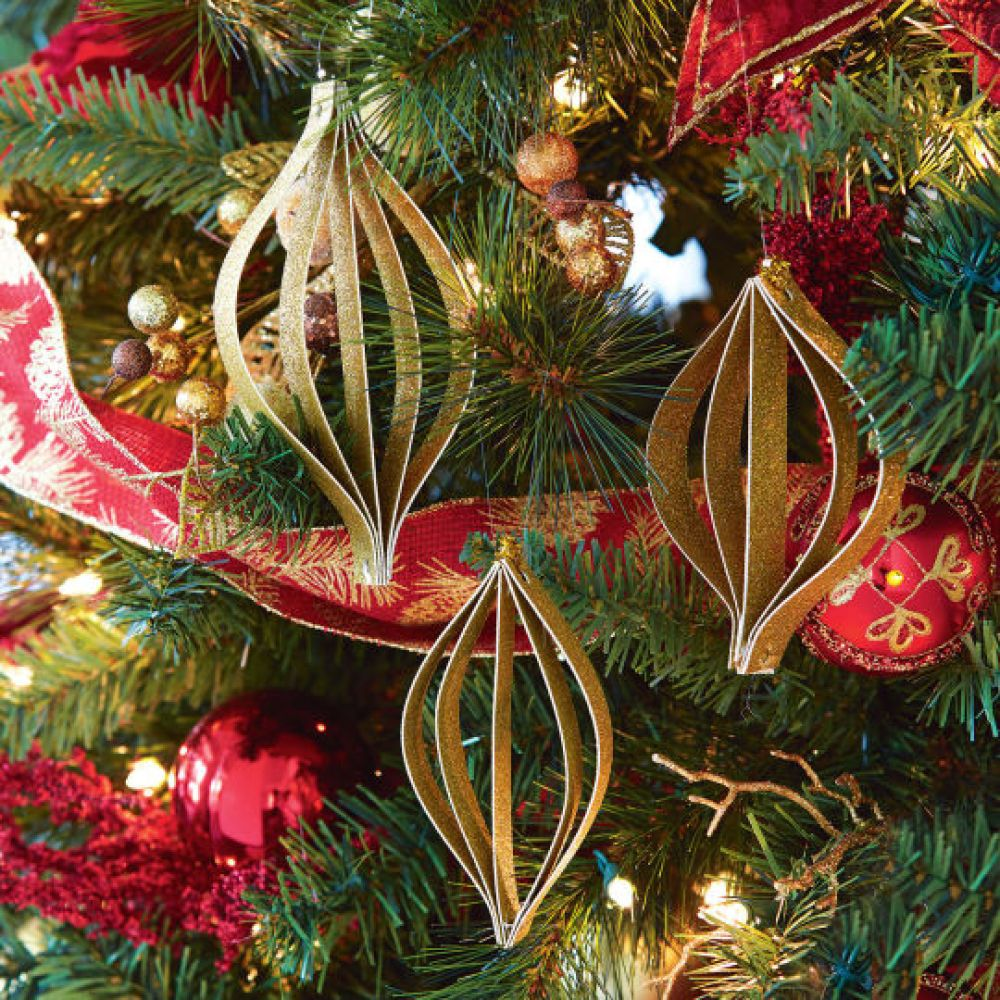 DIY Gold Glitter Paper Ornaments In Store Holiday