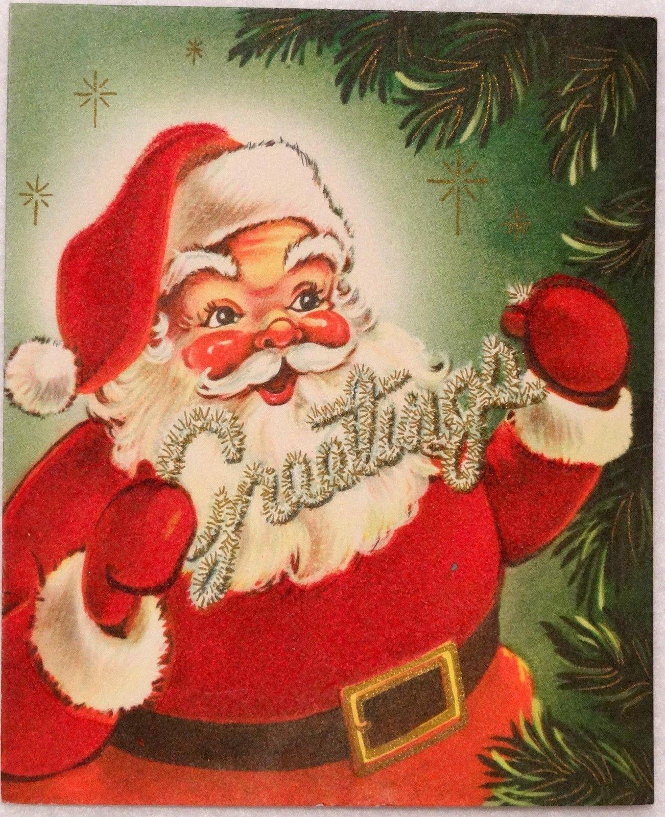 1180 50s Velvet Santa Claus Vintage Christmas Greeting