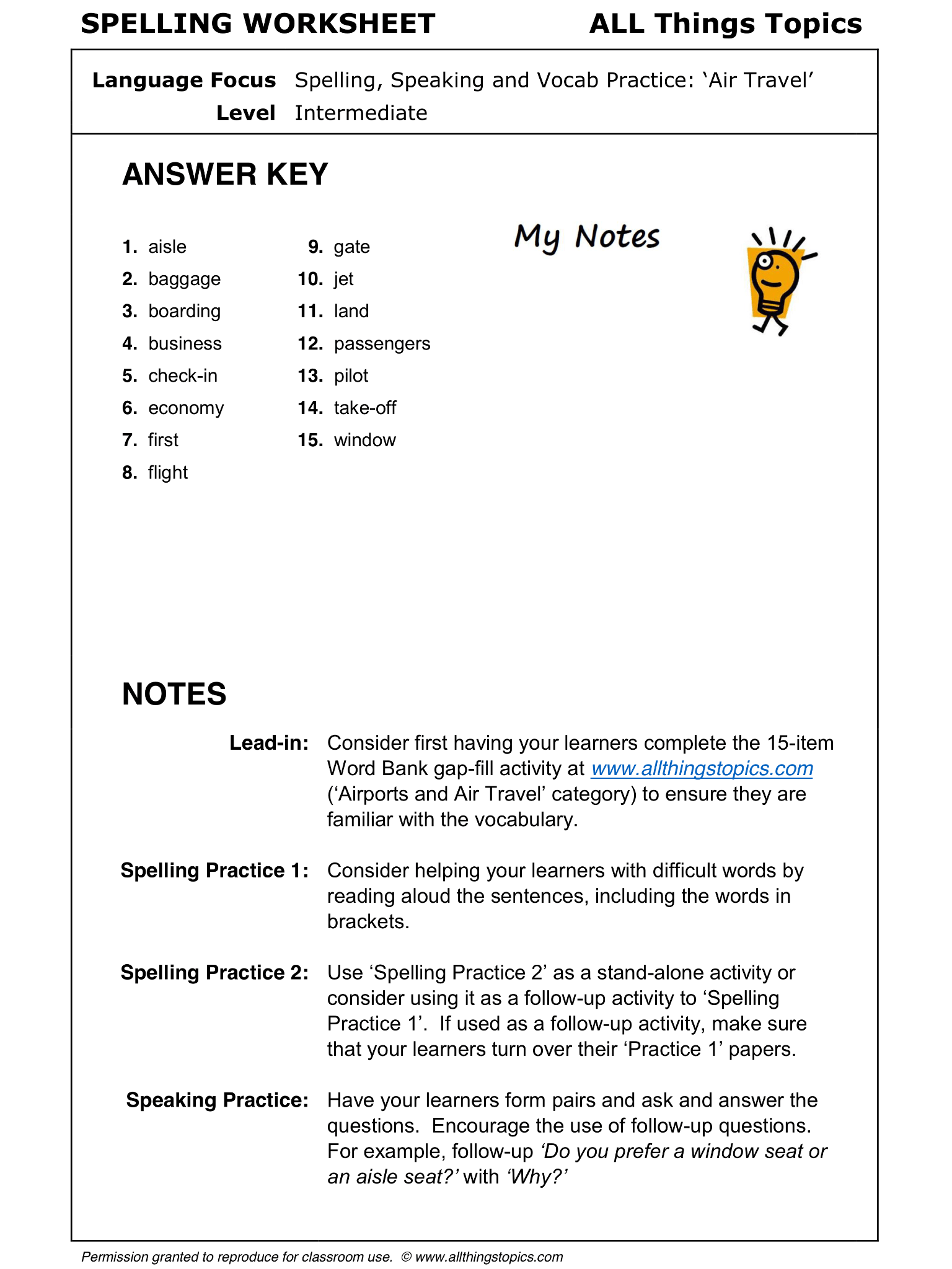 Airports And Air Travel Spelling Worksheet Air Travel 1 2 English Learning English Vocabulary