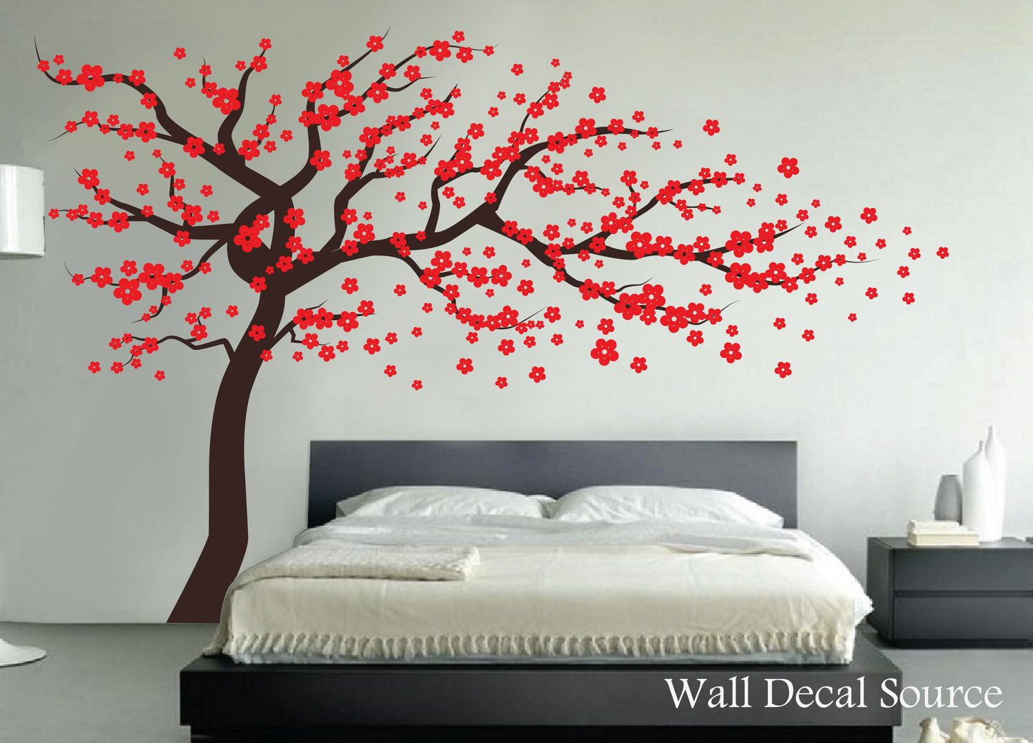 Red Cherry Blossom Tree Wall Decal