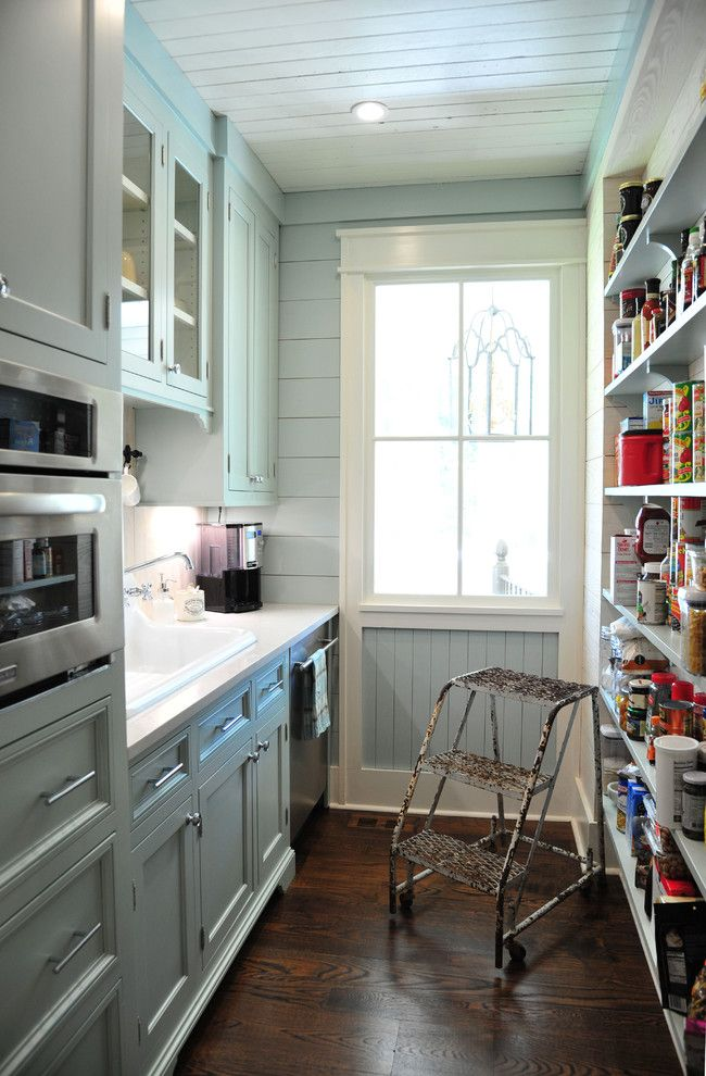 Galley kitchen and pantry, farmhouse style, small kitchen