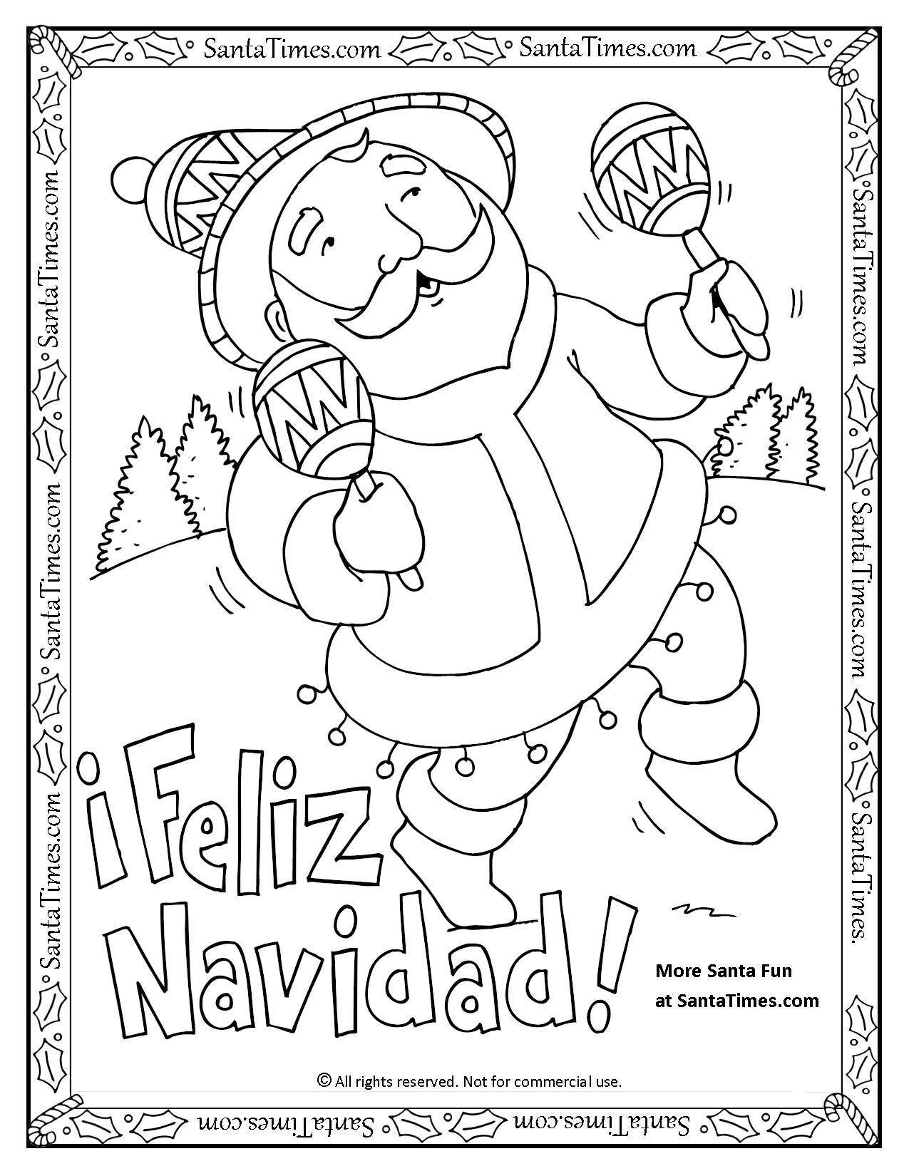Feliz Navidad Printable Coloring Page Papa Noel Quiere Desearles Una Feliz Navidad More