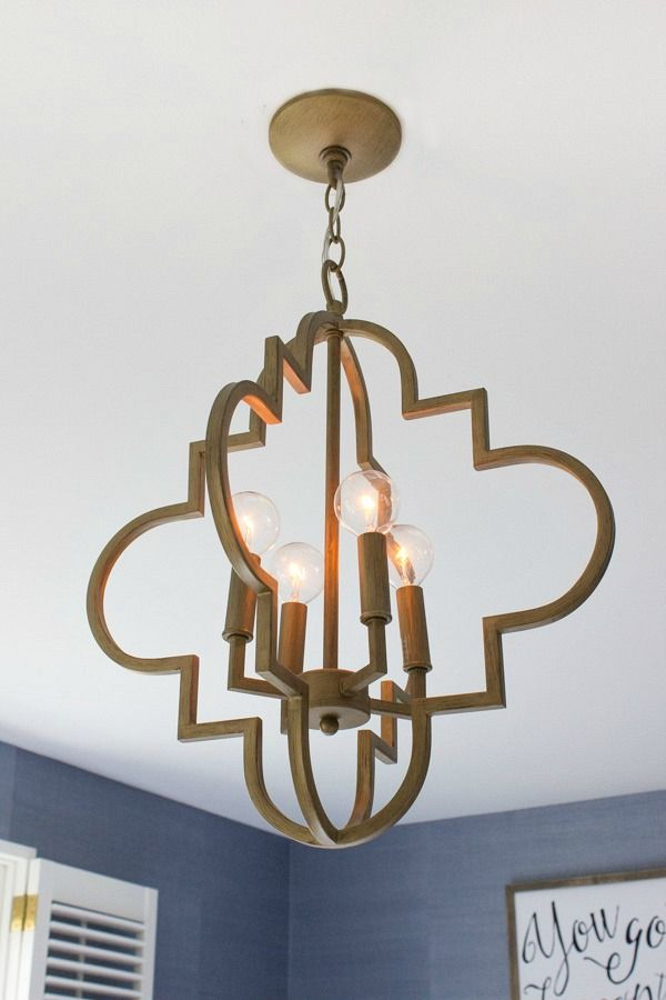 Beautiful Gold Arabesque Chandelier Looks So Cute In This Bedroom