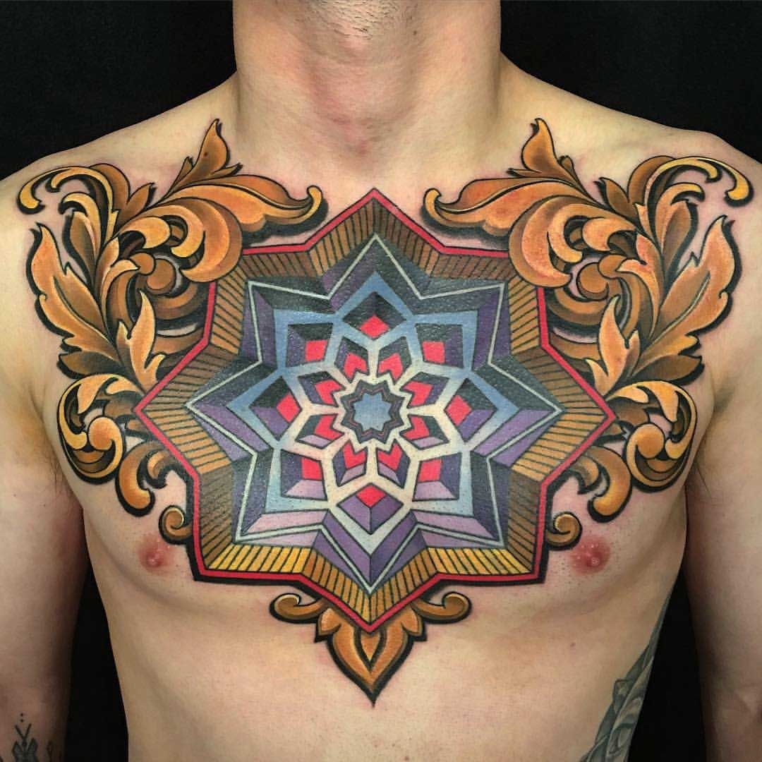 neotraditional Men Chest Tattoo NeoTraditional