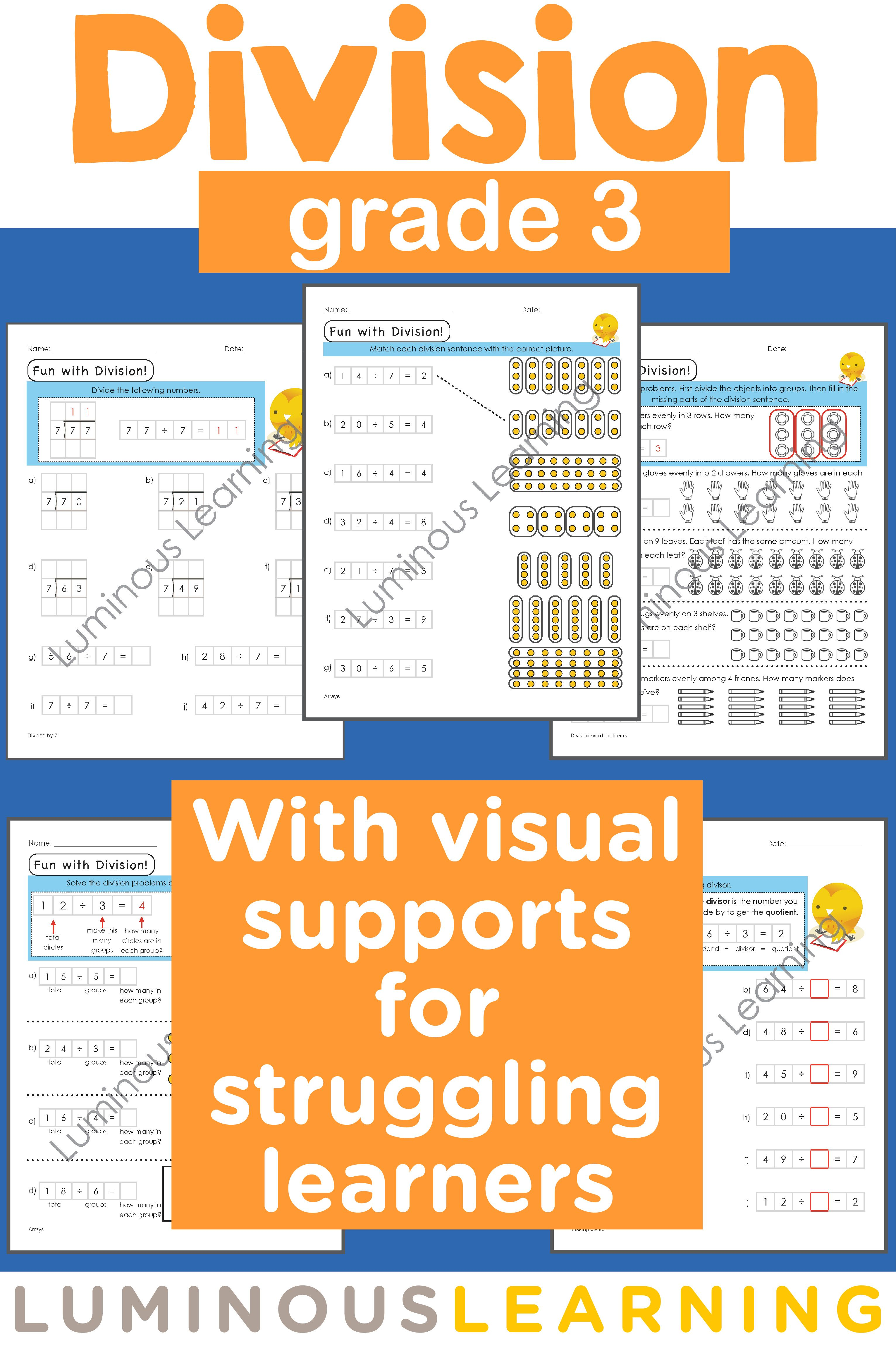 Grade 3 Division Printable Workbook