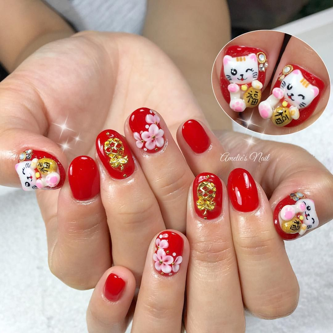 Chinese New Year nails Nails Pinterest Tutorial