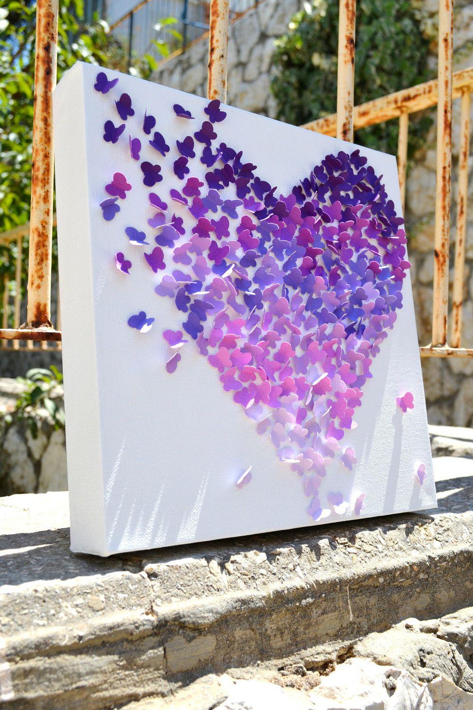 3D Purple Obre Butterfly Wall Art Nursery Decor /Girl's