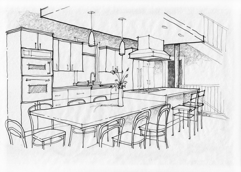 Interior Design Black And White Sketches