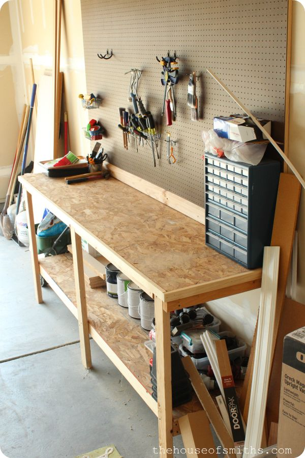 Very inexpensive garage shelving and peg board idea for