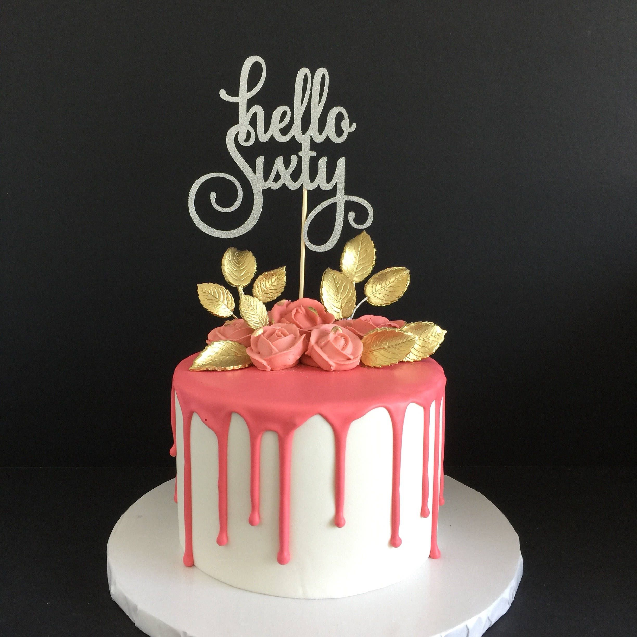 Hello 60 Cake Topper Sixtieth Birthday 60th Birthday