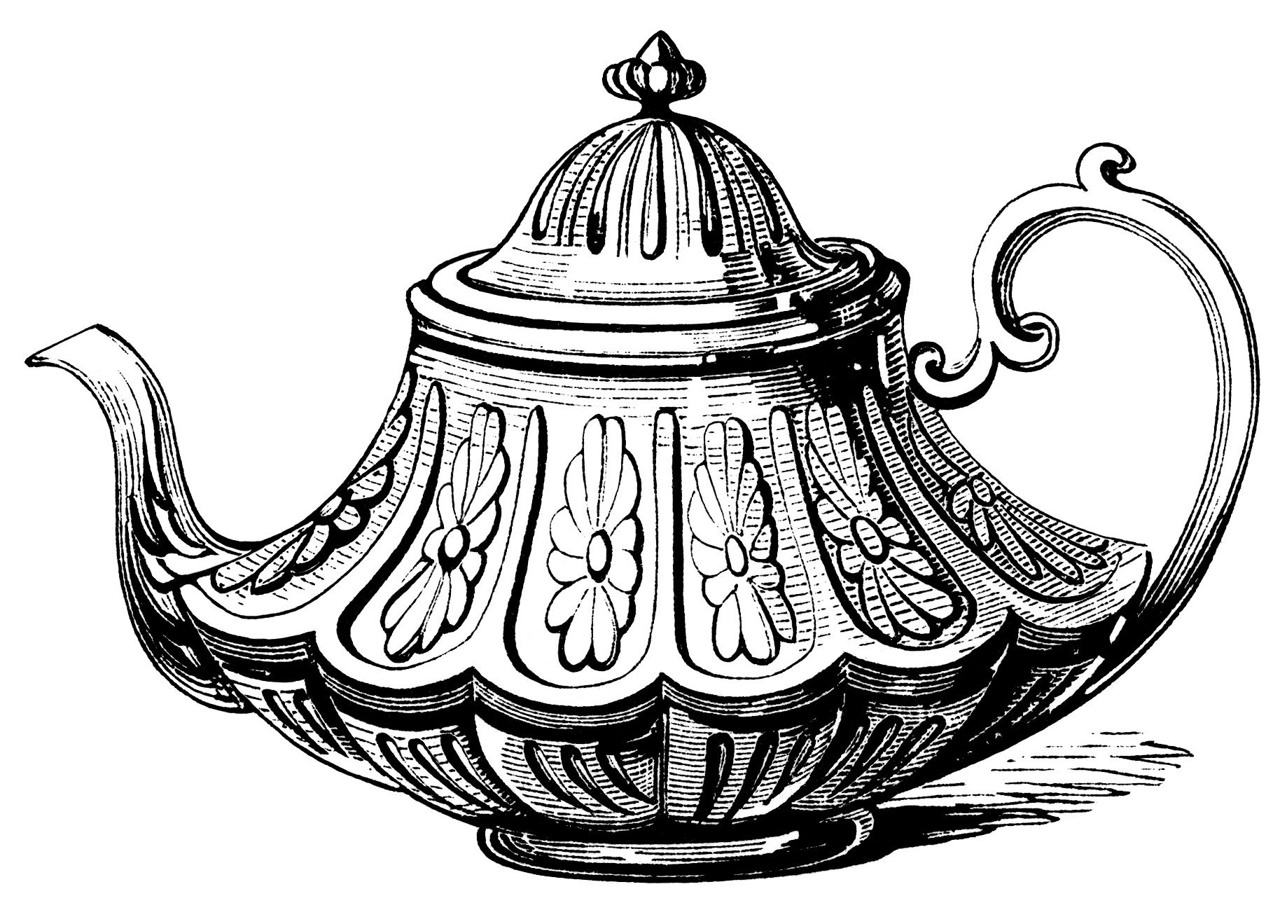 Victorian tea pot, vintage teapot clip art, black and