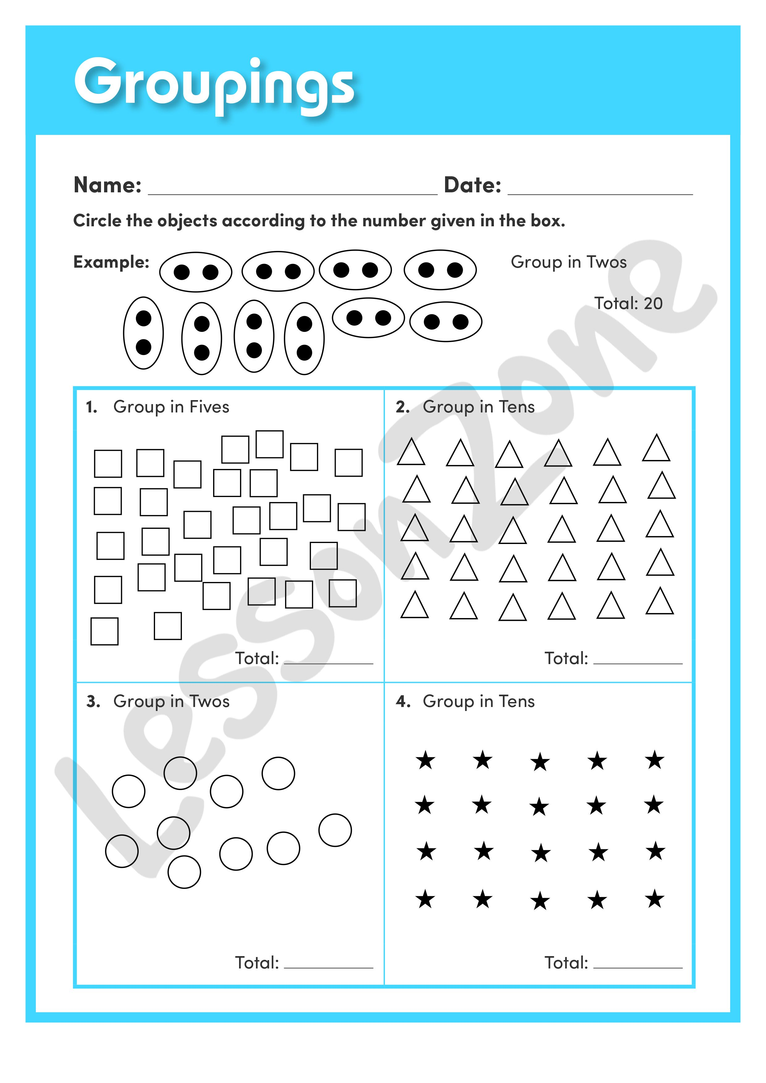 This Understanding Numbers Worksheet Groupings Asks