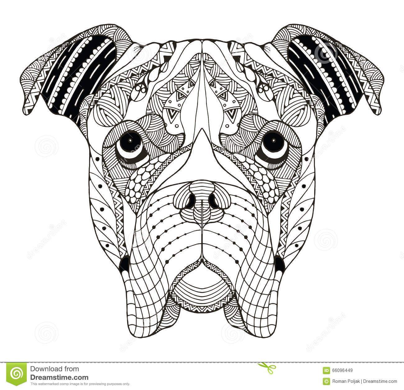 boxerdogheadzentanglestylizedvectorillustration