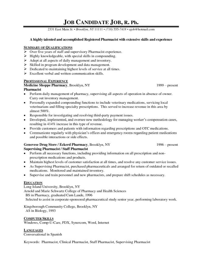Pharmacy Resume Example - Resume Sample