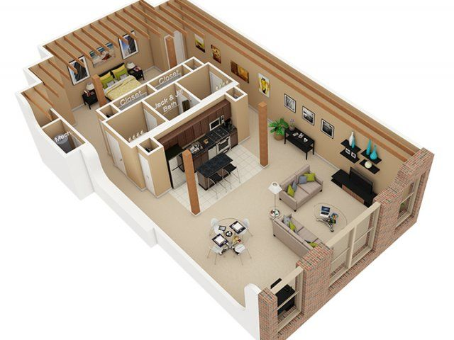 1 bedroom, 1.5 bath floor plan of property cobbler square loft