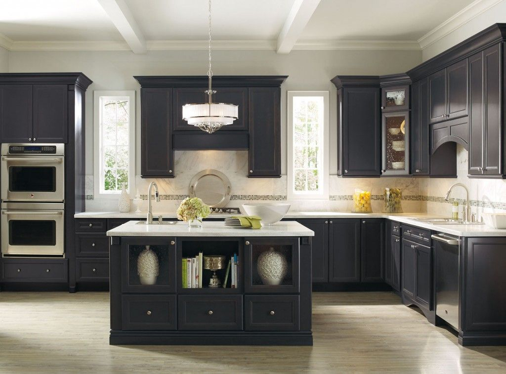 love the dark with marble backsplash with thin