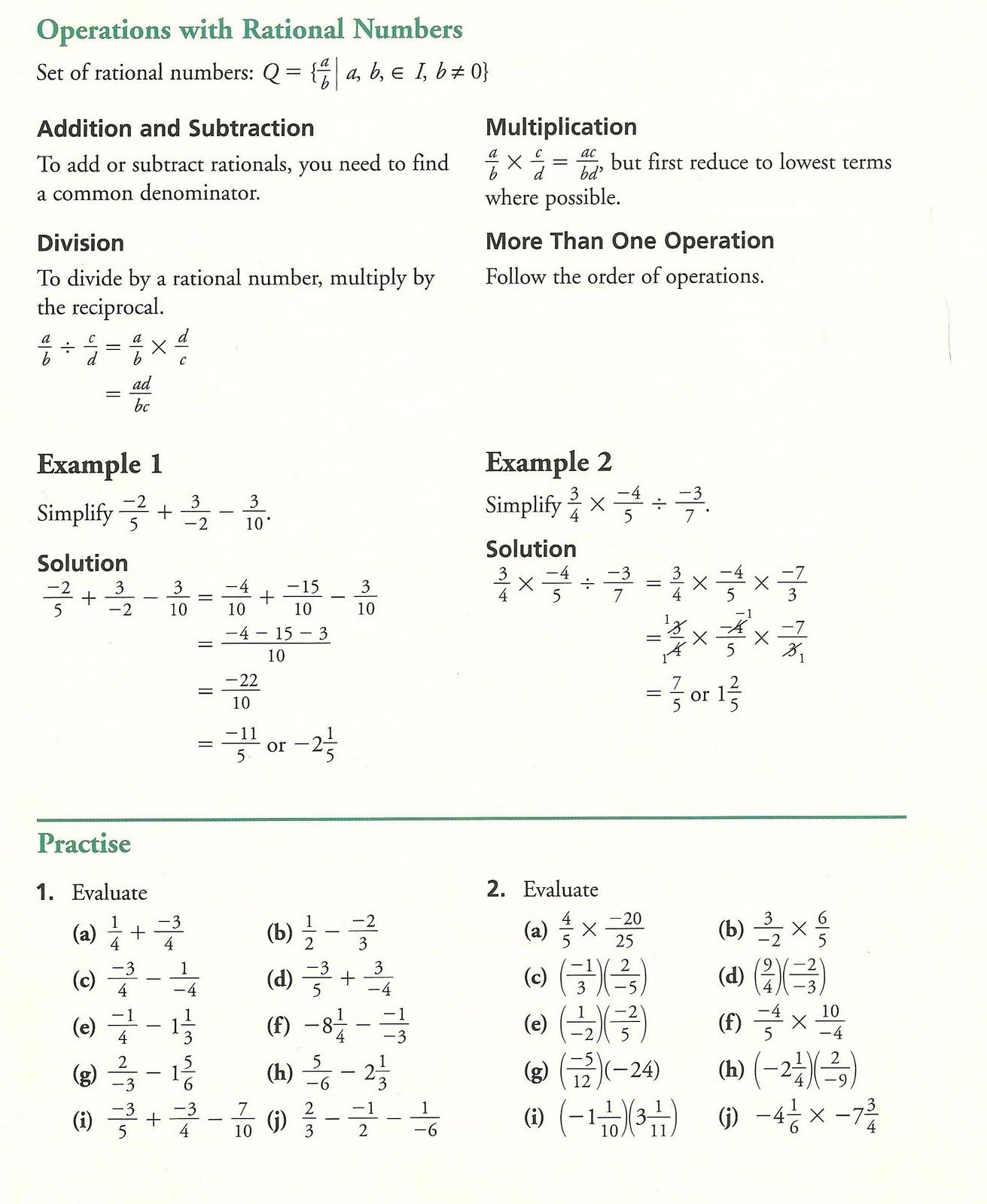 Grade 10 Academic Math Fractions Practice
