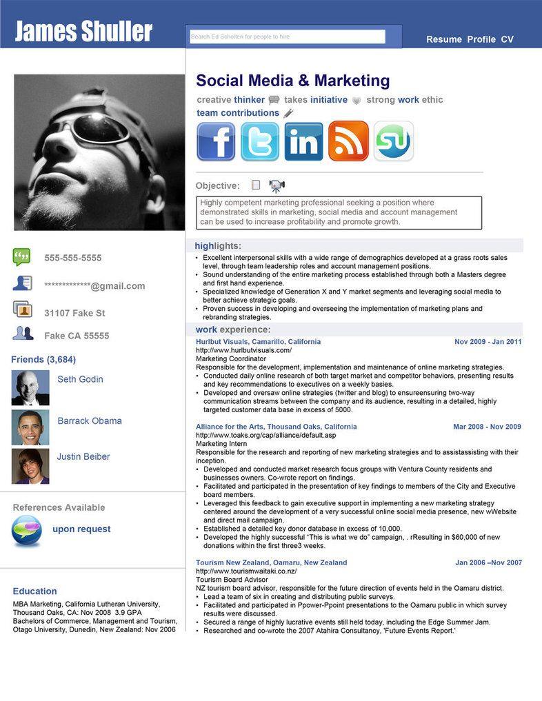 Facebook Style Resume Template. creative facebook style resume ...