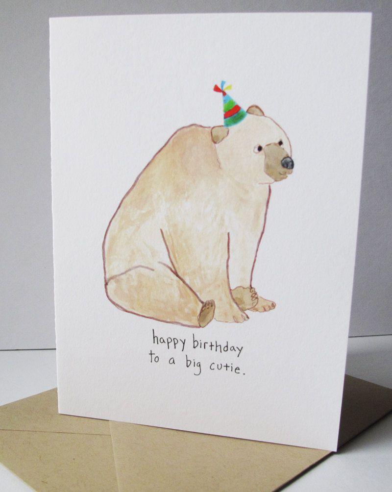 Happy Birthday Card Birthday Bear Print Of My Original