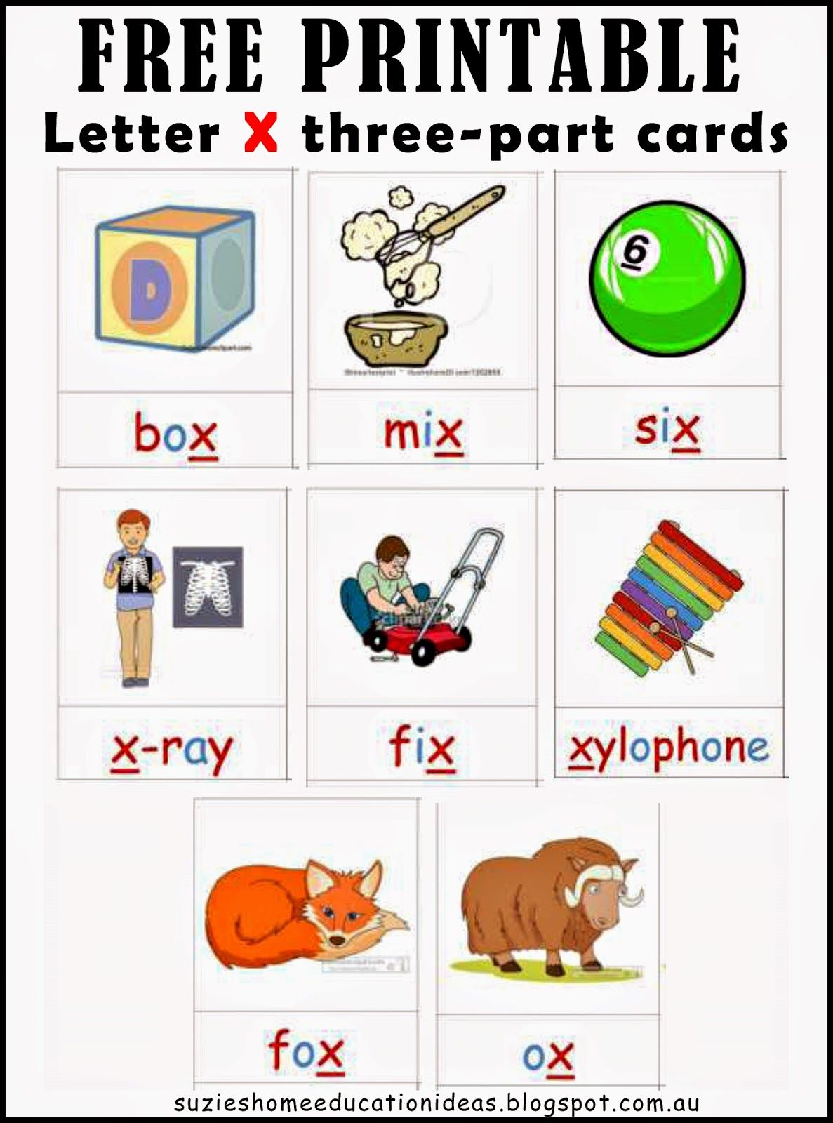 Letter X Printable Cards and Activity Ideas Activities