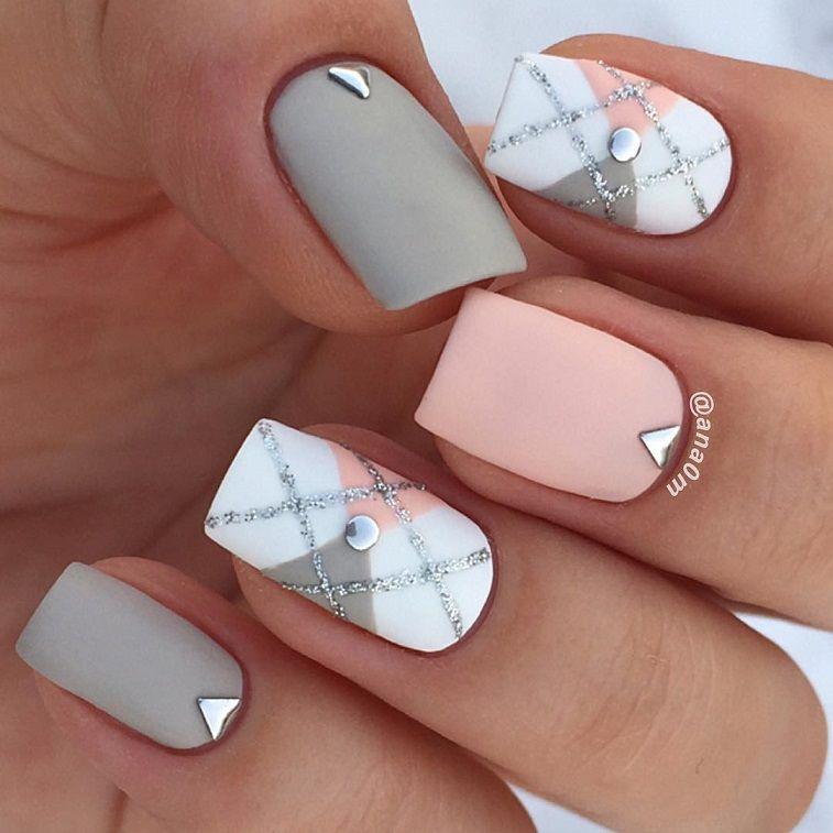 79 pretty mismatched nail art designs - nail art design ideas to try ,mix and matched nail art ideas, peach and grey nail polish #nails #nailart #manicure