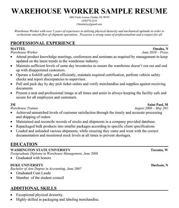 Resume Warehouse Worker Skills. Warehouse Position Resume