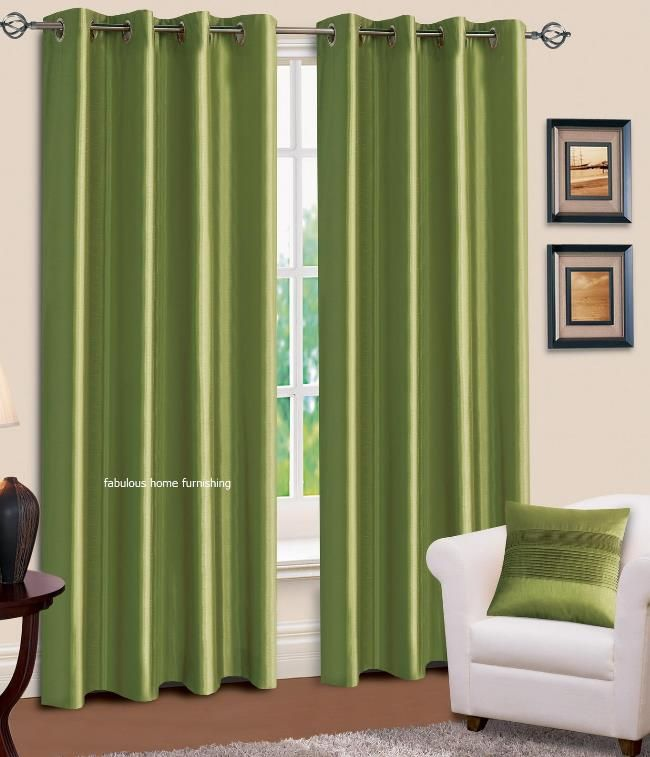 Green Kitchen Curtains Ring Top Eyelet Lined Plain Faux Silk Lime