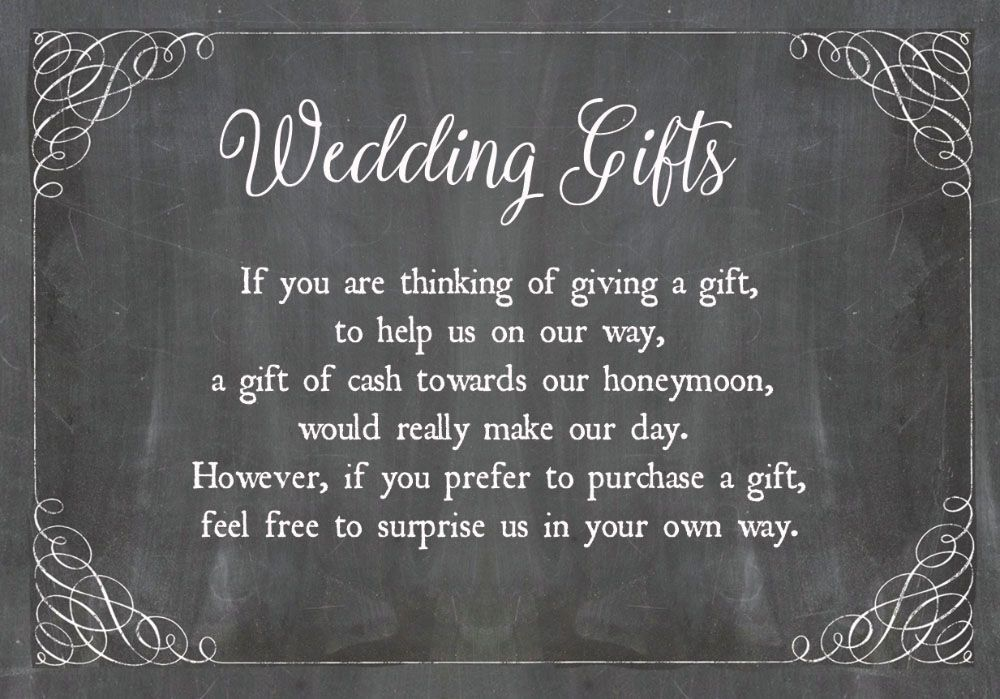 Chalkboard Wedding Gift Wish Card Money cards