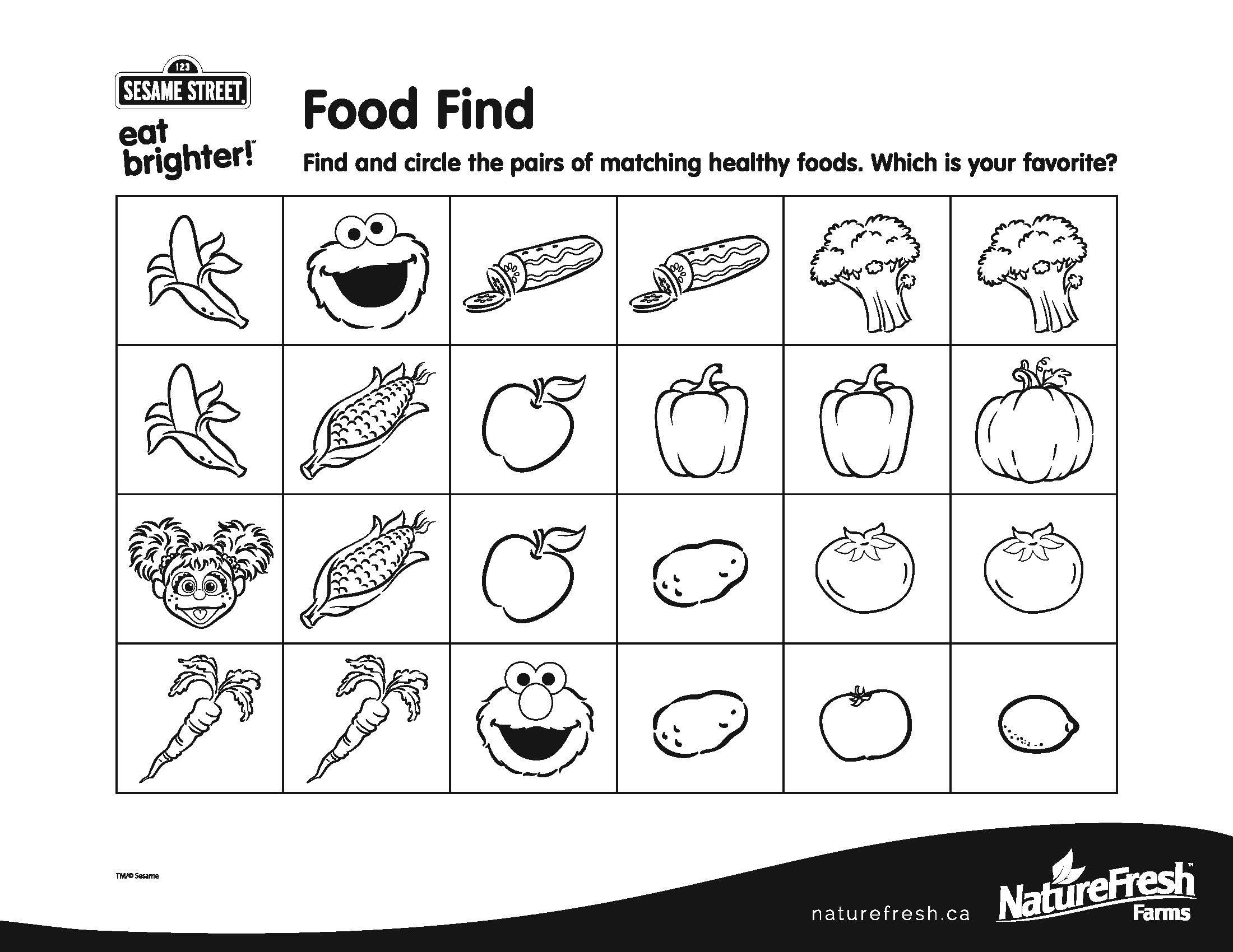 Find And Circle The Pairs Of Matching Healthy Foods Which