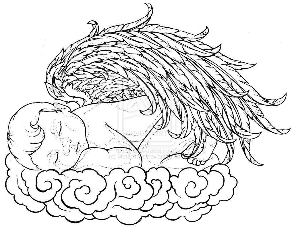 Baby Angel Sleeping On A Cloud Tattoo By Metacharis On Deviantart