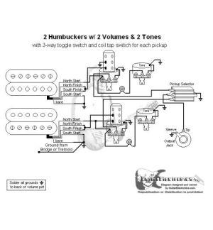 2 Humbuckers3Way Toggle Switch2 Volumes2 TonesIndividual Coil Taps | diy electronics