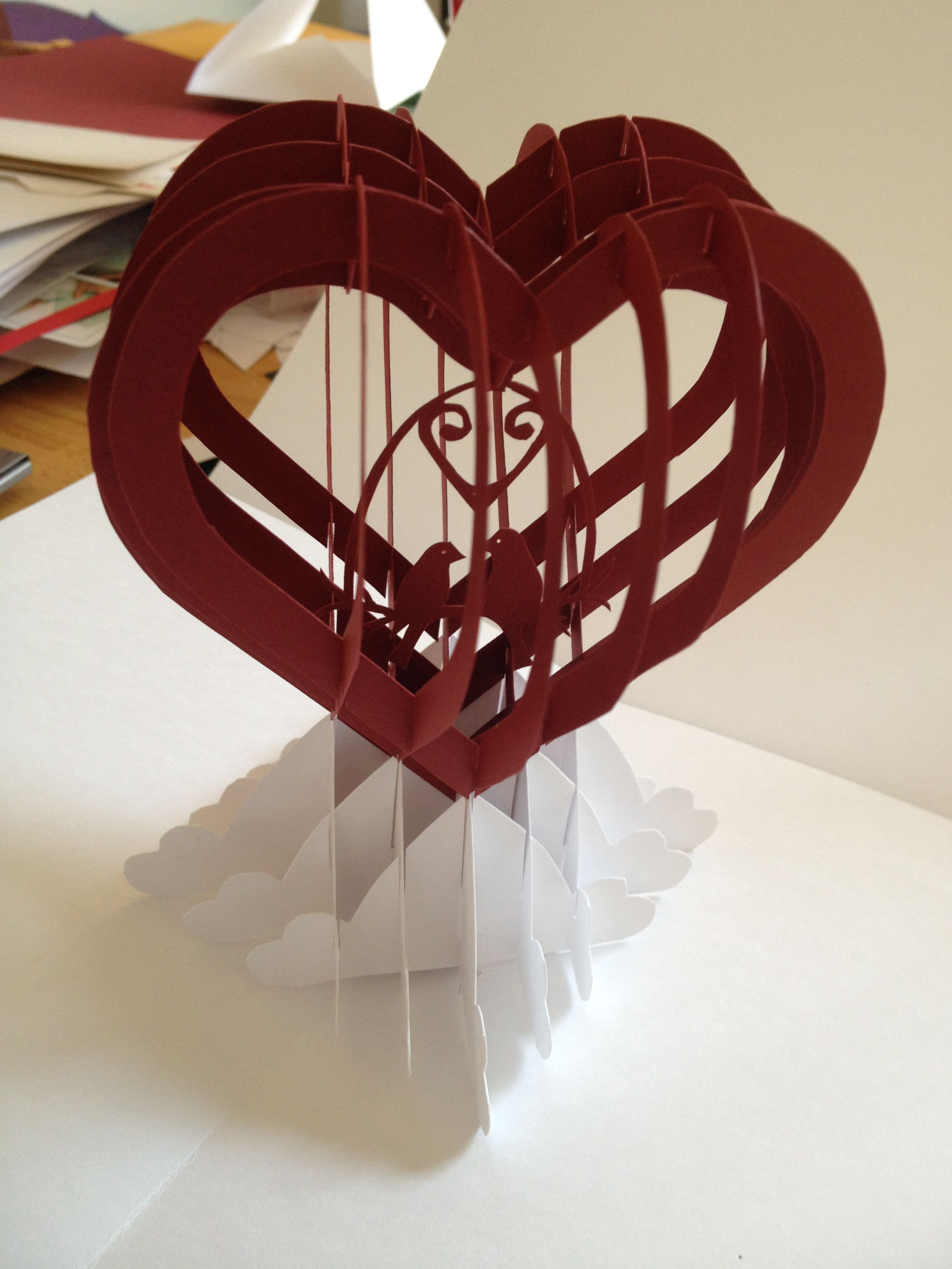 Heart with Love Birds slice form popup card (Template