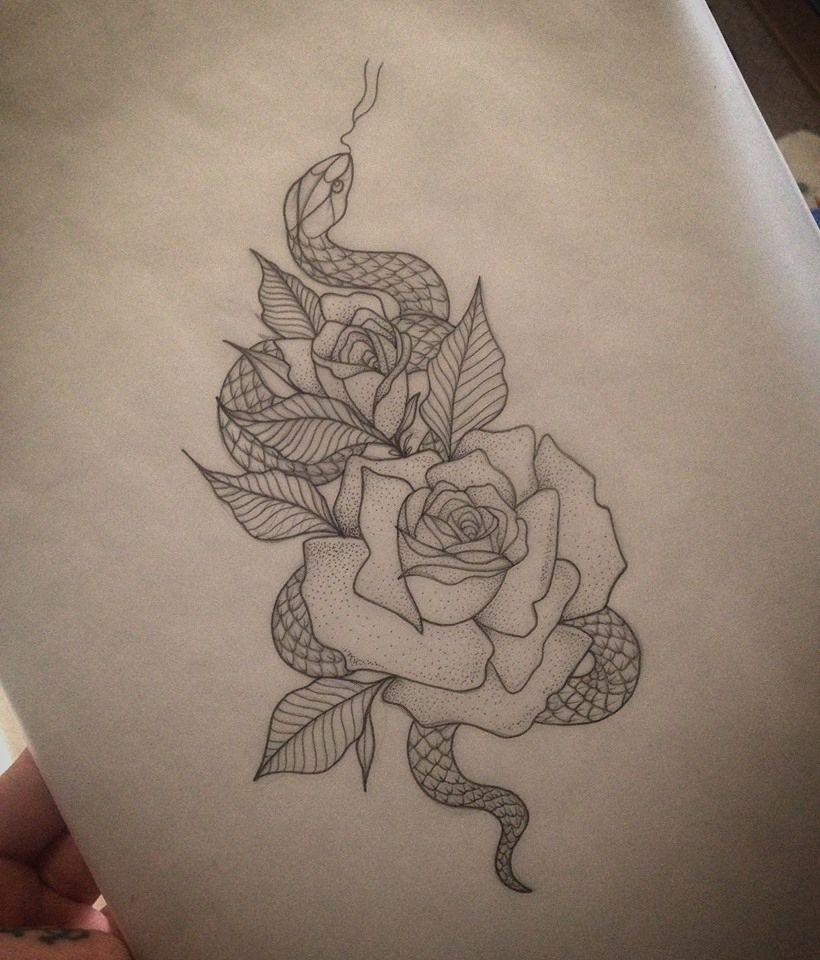 Rose & Snake Tattoo by Medusa Lou Tattoo Artist