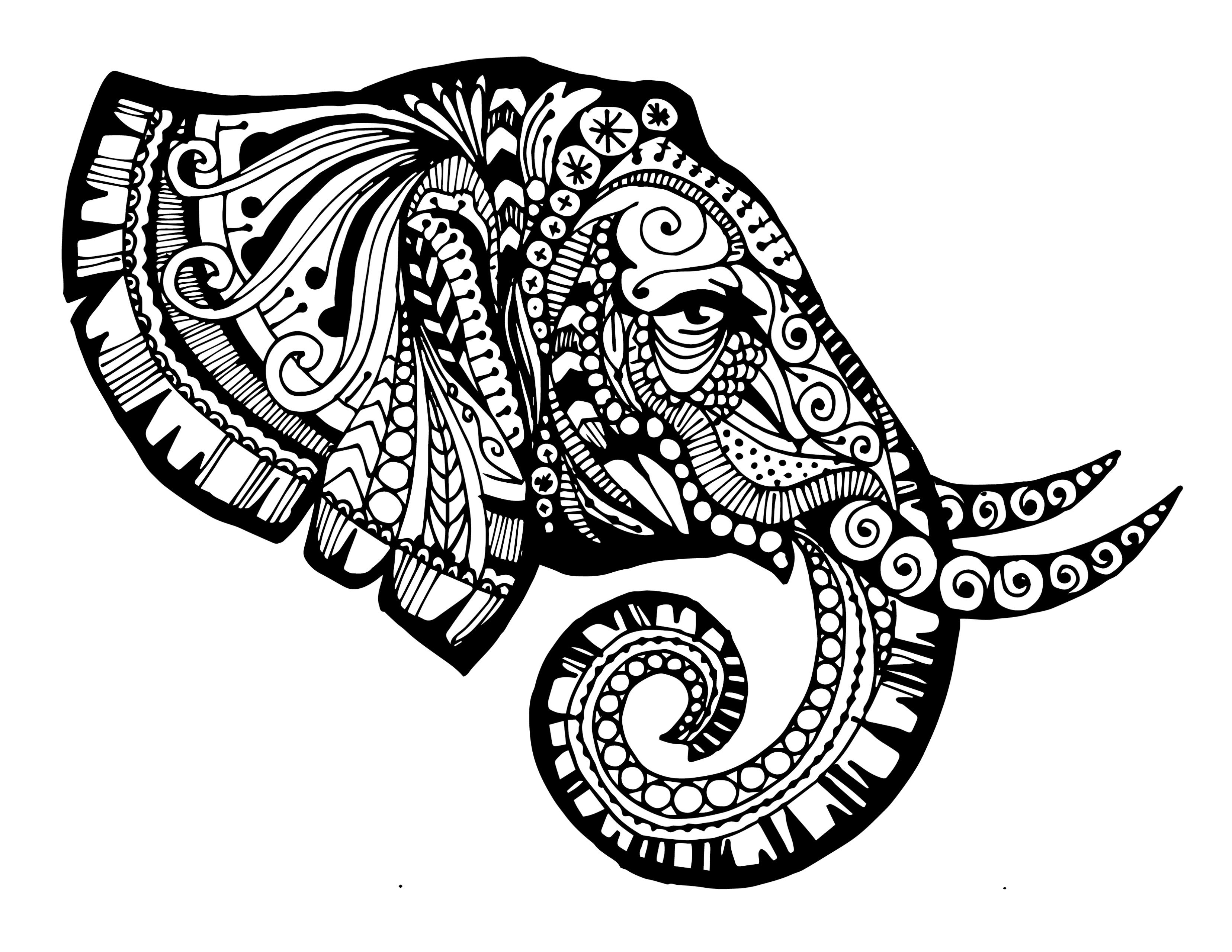 Zentangled Elephant Printable