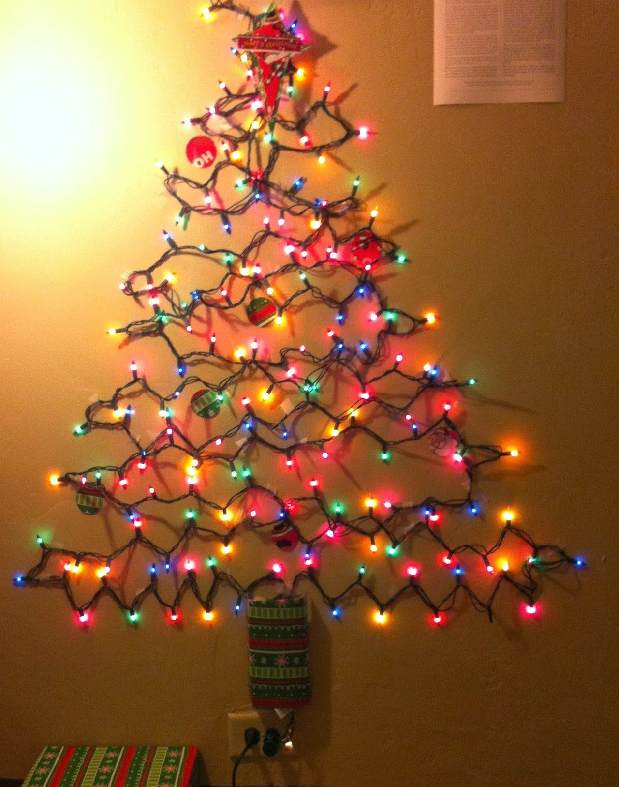 Photo Christmas Tree Made Of Lights On Wall Images