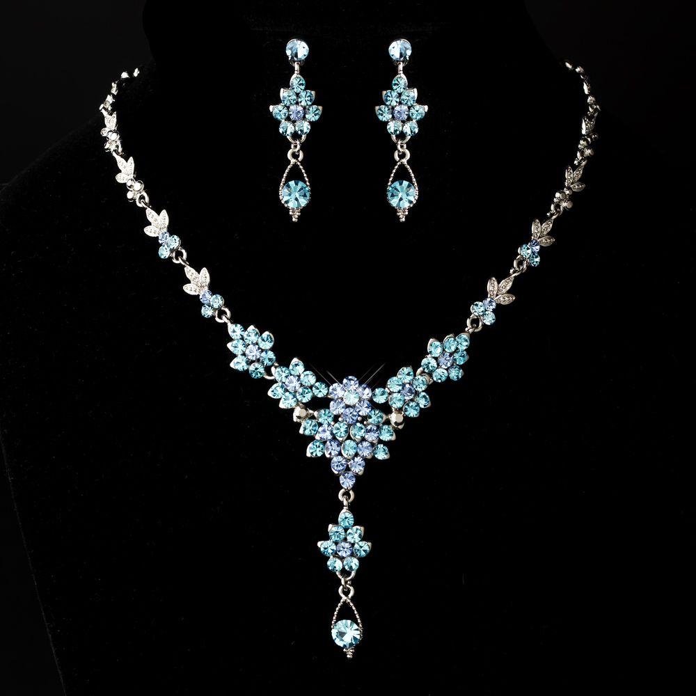 Silver Aqua Blue Drop Swarovski Crystal Vintage Jewelry
