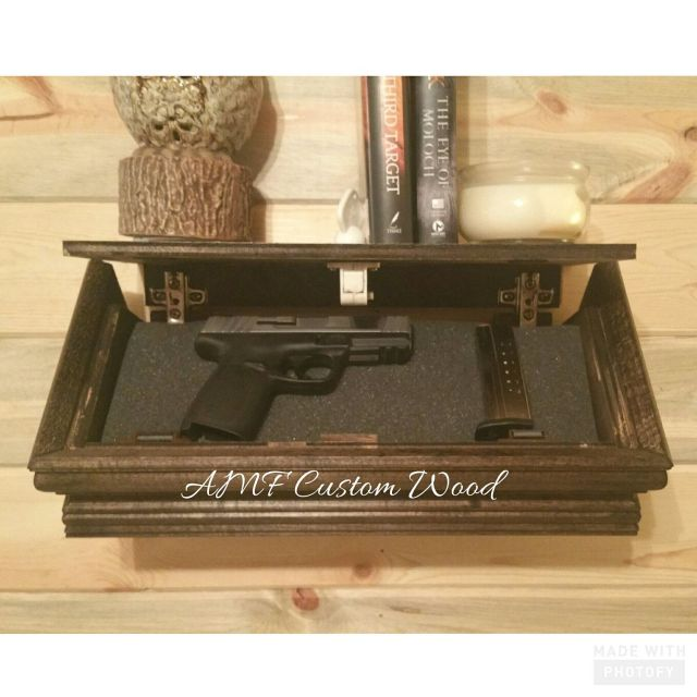 Concealed gun floating shelf with foam Locking shelf Safety lock