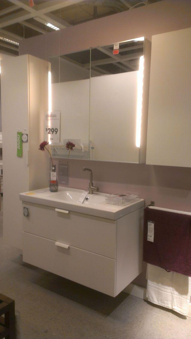"""Ikea Godmorgen Odensvik vanity and sink 39""""w $299 Storjorm mirror"""
