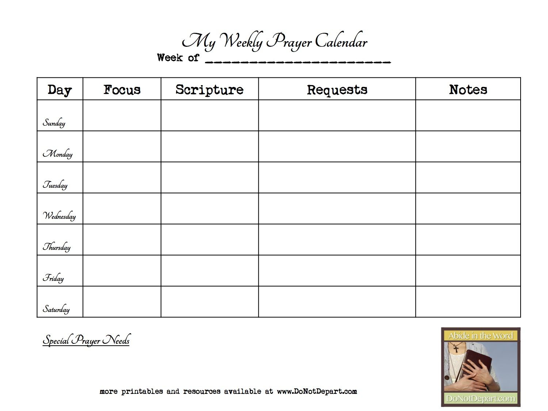 Weekly Prayer Calendar Template