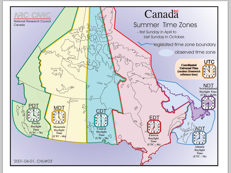 canadian time zones printable maps & student activity