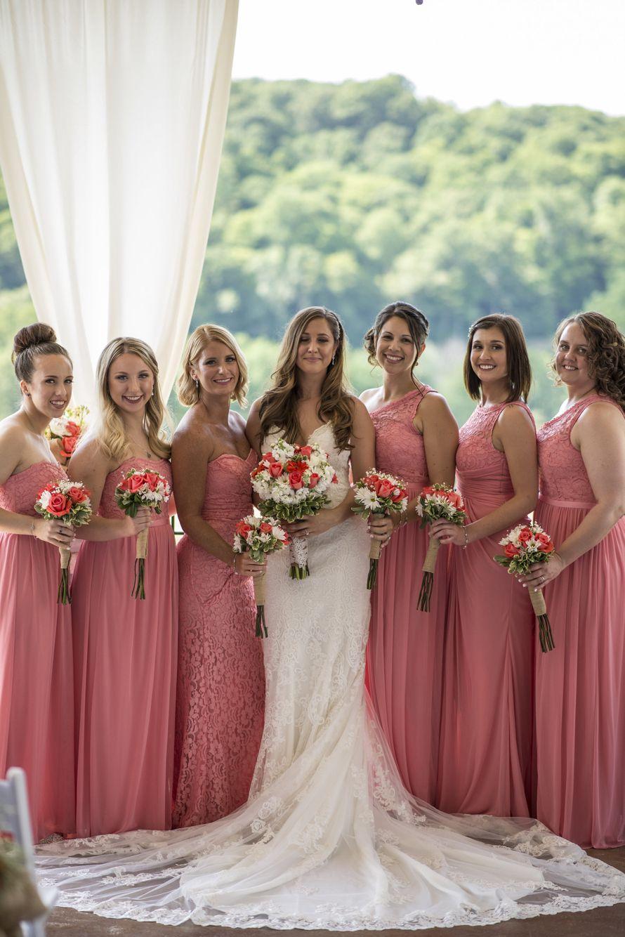 Summer wedding. Coral bridesmaids dresses. David's bridal