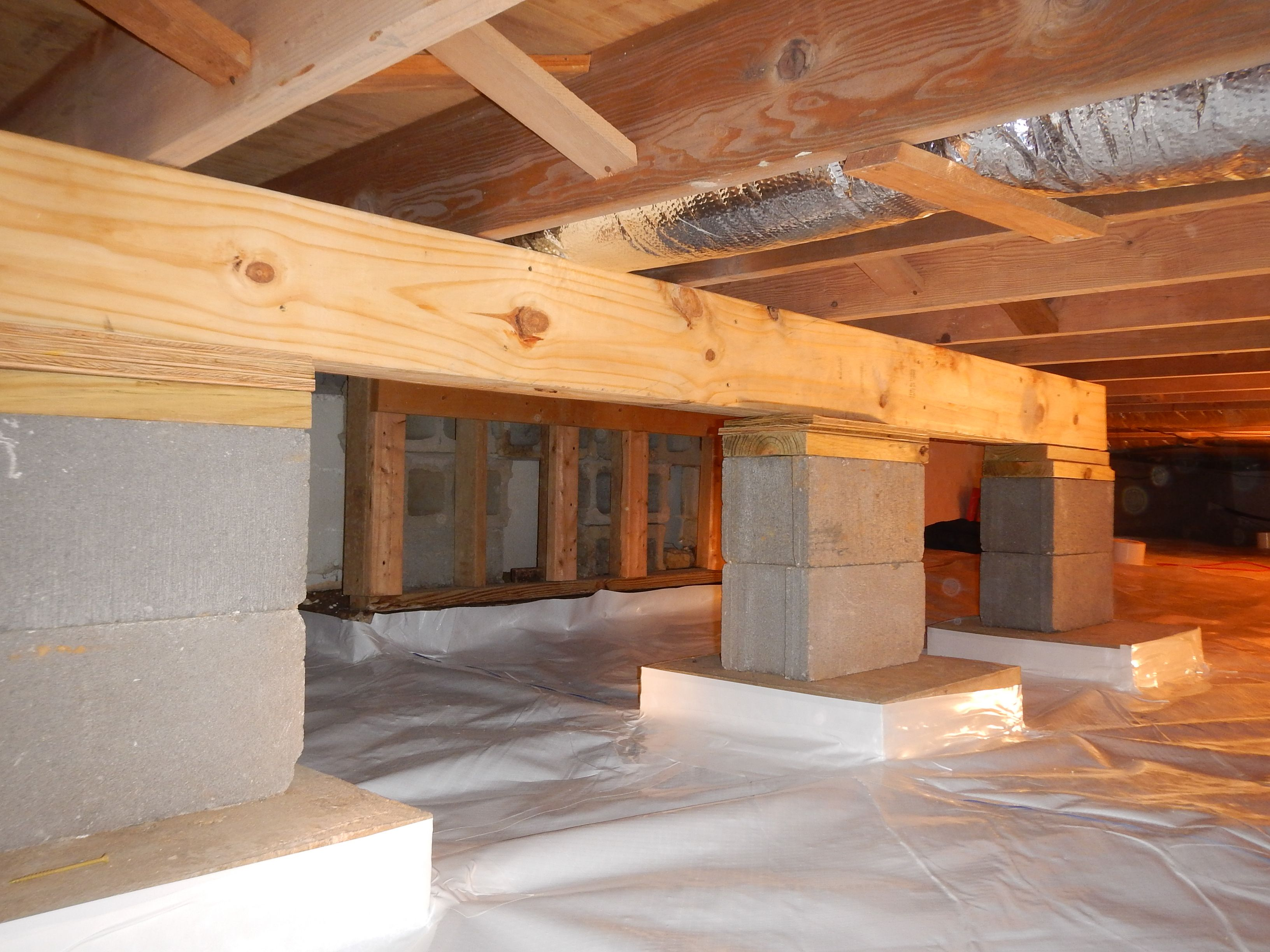 Crawlspace Helper Beam to prevent the joists from