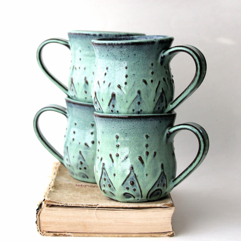 Mediterranean Ceramic Coffee Cup Mug Set of 4 by
