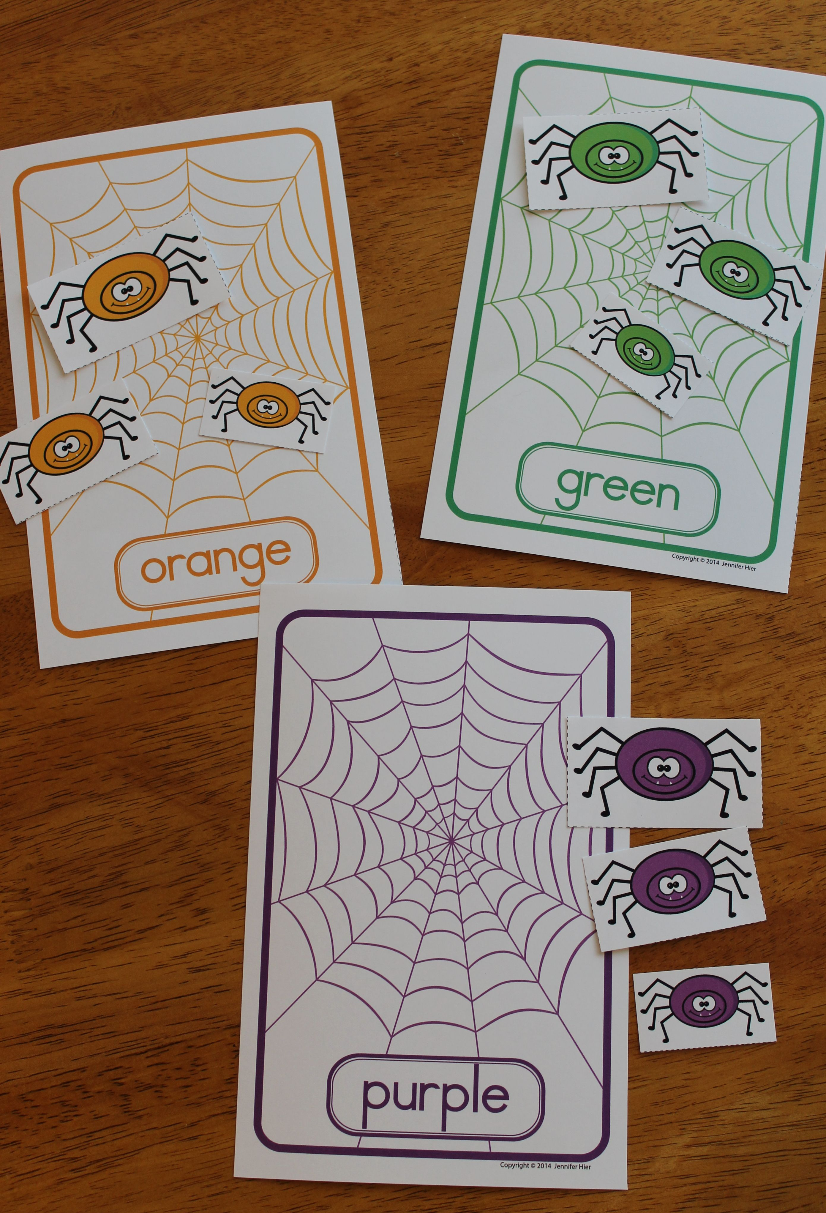 Color Matching And Size Sorting Spiders Fall Activities For Preschool And Pre K